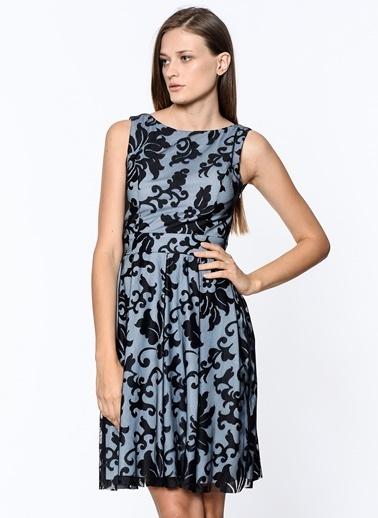 İroni Kısa Abiye Elbise Mavi